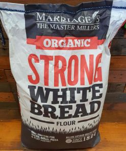 Organic strong bread flour on display at Just Gaia, white flour bag