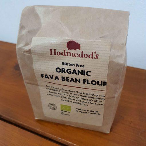 Gluten free fava bean flour (bread flour) on display at Just Gaia, close up 500g bag