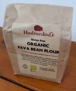 Gluten free fava bean flour (bread flour) on display at Just Gaia, close up 500g bag