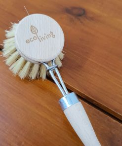 Detachable Wooden Cleaning Brush head on body close up in Just Gaia