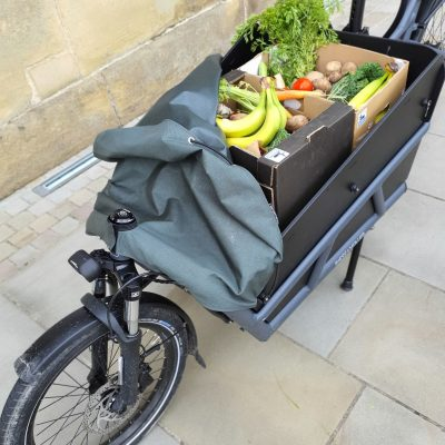 Cargodale electric bike with Just Gaia organic fruit and veg box at The Piece Hall, Halifax