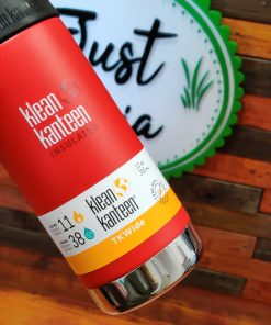 Klean Kanteen 12oz TKWide Insulated coffee cup in post box red held up