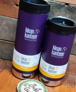 Klean Kanteen 12oz and 16oz large insulated coffee cups on display at Just Gaia