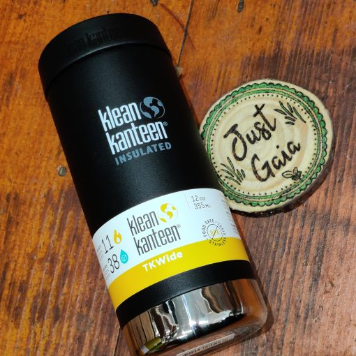 Klean Kanteen 12oz TKWide Insulated coffee cup in shale black laid down