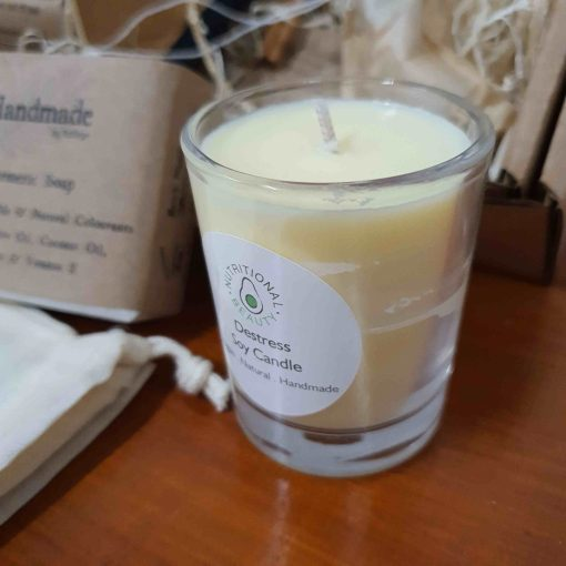 Close up of soy candle in Luxury Bathroom Pamper Gift Set at Just Gaia, UK