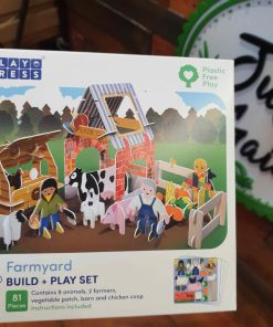 Plastic Free farmyard playset front box from in store at Just Gaia Halifax UK