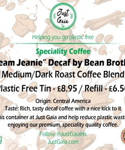 Dream Jeanie Decaf Speciality Coffee Tin label beans and ground at Just Gaia Halifax