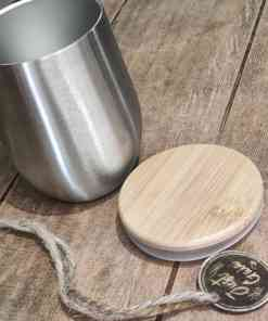 insulated cup with bamboo lid