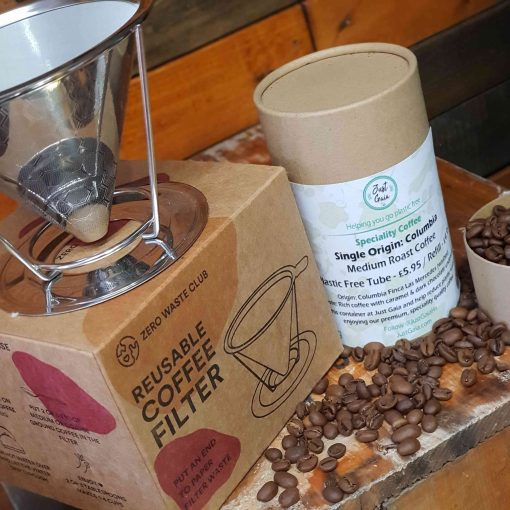 Reusable coffee filter gift set with coffee in zero waste tube at Just Gaia on display.