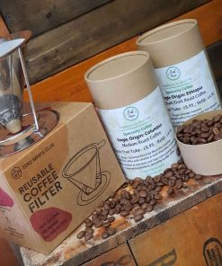 Reusable coffee filter gift set with coffee in zero waste tubes, double pack at Just Gaia on display.