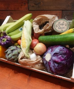 Organic Vegetable box example on display in Just Gaia Halifax including options for Vegetable box, fruit and veg combo box and fruit selection