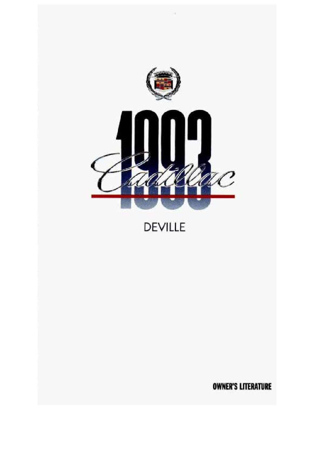 Cadillac Deville Owners Manual