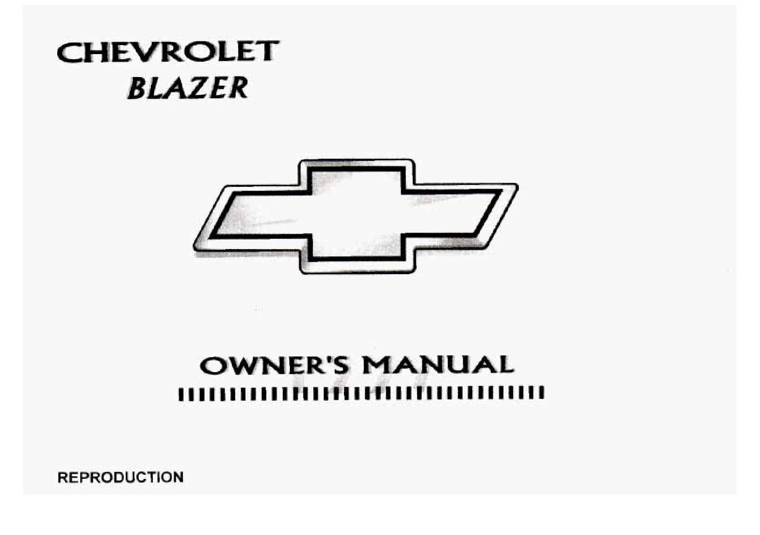 Chevrolet Blazer Owners Manual