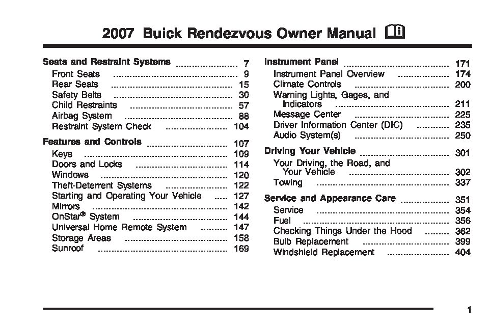2003 buick rendezvous owners manual