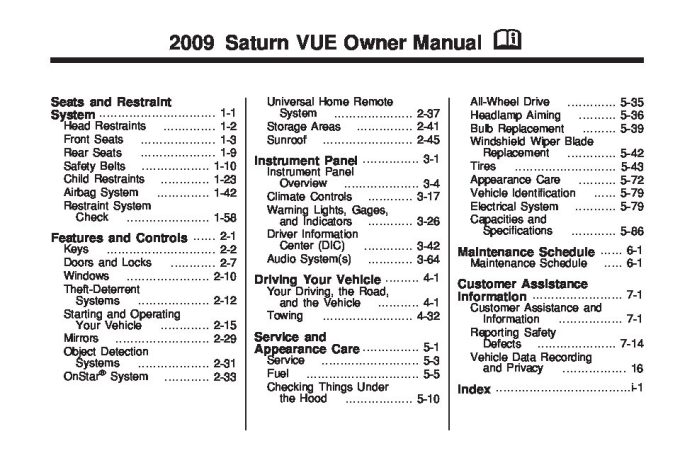 2008 saturn vue warning lights meanings