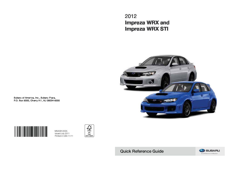 Subaru Impreza Wrx Sti Owners Manual