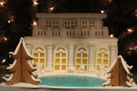 gingerbread mansion with pond