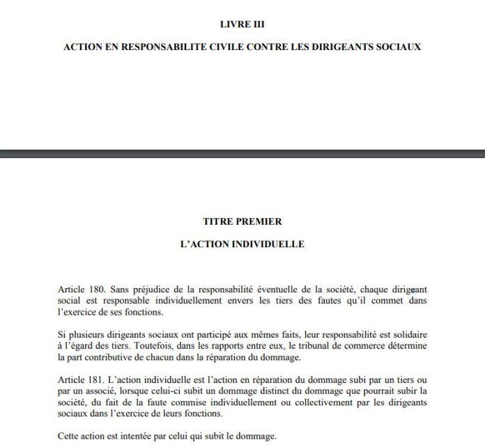 Article 181 de la loi 2003-036 sur les sociétés commerciales à Madagascar : L'action individuelle est l'action en réparation du dommage subi par un associé DISTINCT du dommage subi par la société
