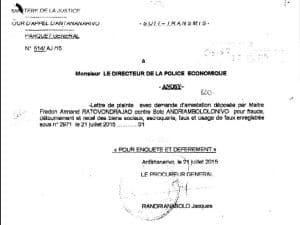 """Dès le lendemain du dépôt de la plainte de RANARISON Tsilavo, le procureur général fait """"un Soit-Transmis"""" à la police économique"""