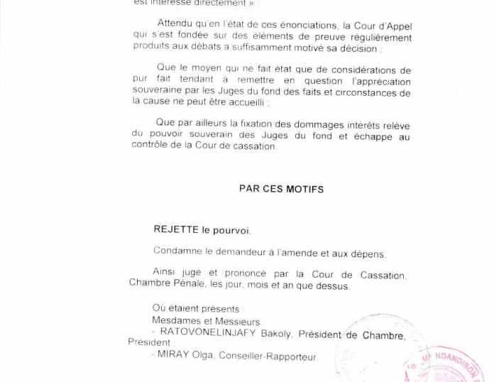 Avec un arrêt de la cour de cassation malgache qui VIOLE LA LOI en acceptant  qu'un simple associé peut être bénéficiaire des intérêts civils en violation des lois malgaches