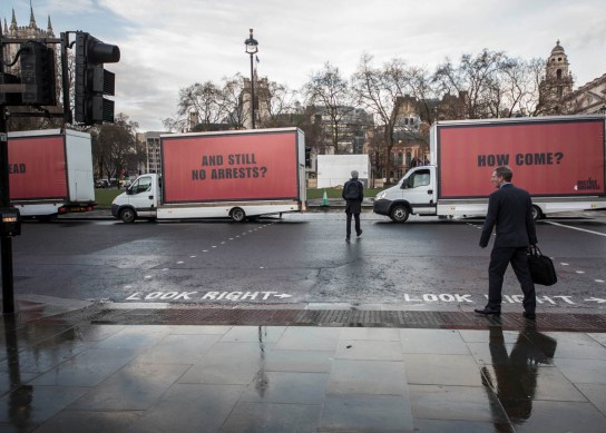 Jeff Moore THIS PICTURE IS FREE TO USE THREE BILLBOARDS OUTSIDE GRENFELL TOWER, LONDON (INSERT PHOTO) London, 15th February 2018: Community-led organisation, Justice4Grenfell, today paraded three billboards past Westminster on the way to Grenfell Tower, to highlight the lack of progress being made in the wake of the Grenfell Tower tragedy. Marking 8 months since the tragic event, the highly visible stunt recreates a scene from the film 'Three Billboards Outside Ebbing, Missouri', following its success at the Golden Globes and multiple nominations for this weekend's BAFTAs. For further information, or to arrange an interview with a Justice4Grenfell spokesperson, please contact Paul McEntee on paul@mcandt.co.uk or 07791 156326; or Matt Crowhurst on matt@mcandt.co.uk or 07971 301874.