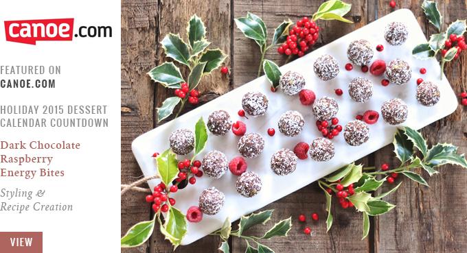 Dark Chocolate Raspberry Energy Bites | Canoe.com Recipe Feature | Holiday Dessert Calendar 2015 // JustineCelina.com