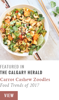 Feature // Carrot Cashew Zoodles with Crispy Sesame Tofu | Food Trends of 2017: Alternative Pasta | Calgary Herald Gastropost // JustineCelina.com