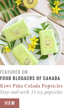 Golden Kiwi Piña Colada Popsicles featured on The Food Bloggers of Canada // JustineCelina.com