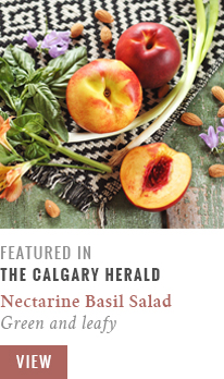 Feature // Nectarine Basil Salad | Green & Leafy | Calgary Herald Gastropost // JustineCelina.com
