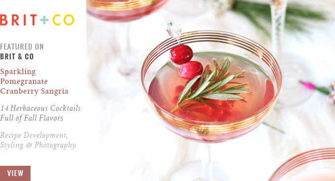 Featured on Brit + Co // Sparkling Pomegranate Cranberry Sangria | 14 Herbaceous Cocktails Full of Fall Flavors // JustineCelina.com
