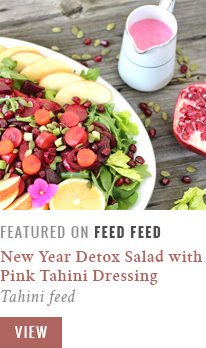 New Year Detox Salad with Pink Tahini Dressing | Feed Feed Recipe Feature | Tahini Feed // JustineCelina.com
