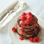 Banana Maca Pancakes with Raspberry Maple Syrup // JustineCelina.com