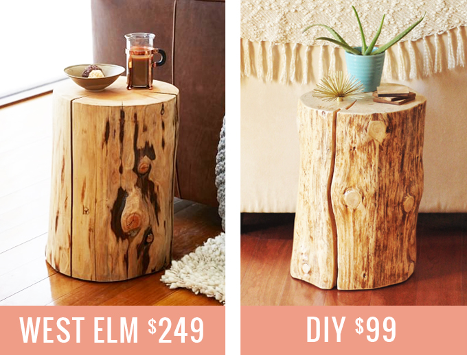 tree stump side table diy natural uk trunk coffee nz comparison