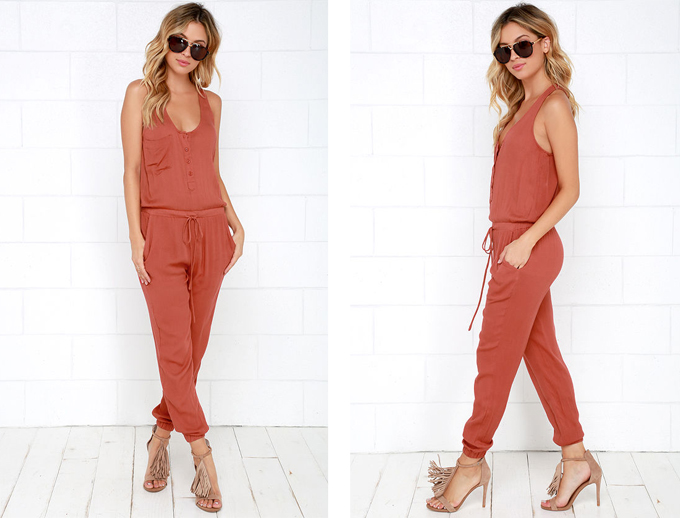 Colour Crush | Rust | Big City Dreams Rust Red Jumpsuit Lulu*s // JustineCelina.com