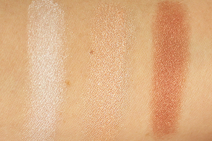 BECCA Shimmering Skin Perfector Pressed Champagne Glow Palette Photos, Review, Swatches on NC 30