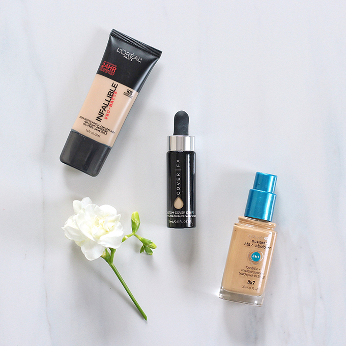 2015 Beauty Favourites | Foundation | L'Oreal Infalliable Pro Matte Foundation 105 Photos, Review Swatches | Covergirl Outlast Stay Fabulous 3 in 1 857 Golden Tan Photos, Review, Swatches, | Cover FX Custom Cover Drops Photos, Review, Swatches // JustineCelina.com