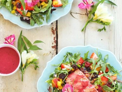 Pomegranate Hibiscus Salmon Salad | Recipe Creation for Litehouse Foods // JustineCelina.com