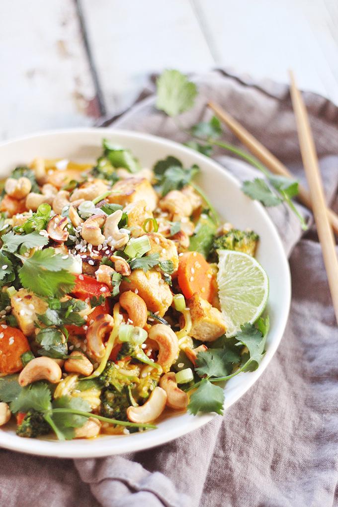 Carrot Cashew Zoodles with Crispy Sesame Tofu // JustineCelina.com