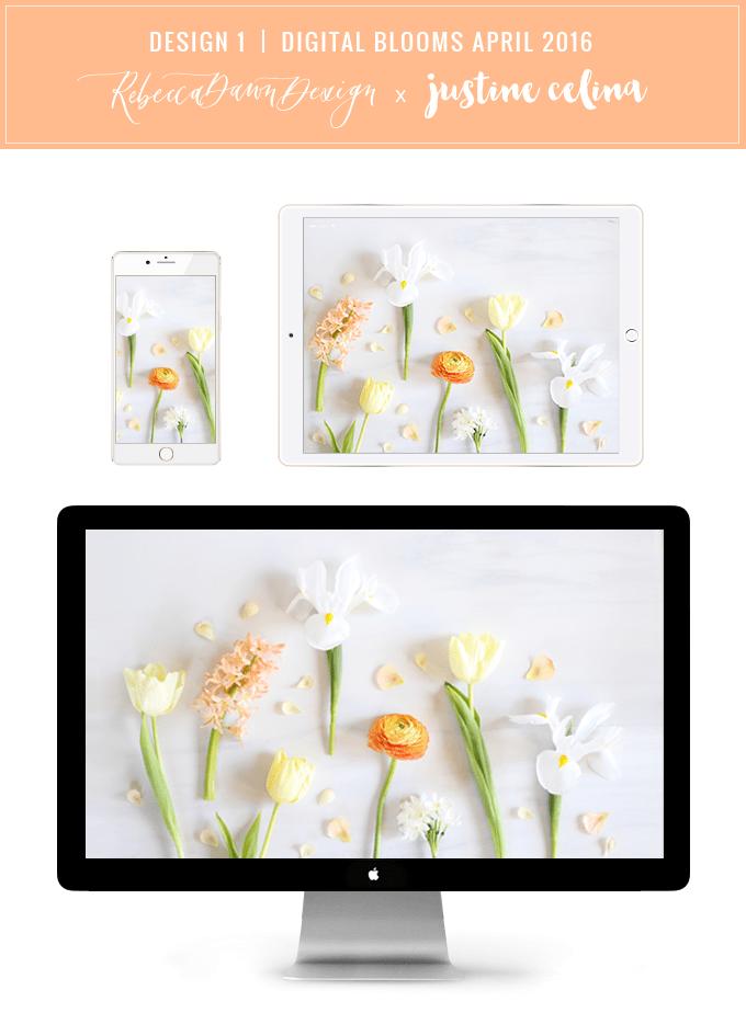 Digital Blooms Desktop Wallpaper Download 1   April 2016 // JustineCelina.com x Rebecca Dawn Design
