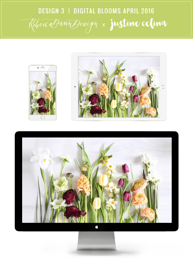 Digital Blooms Desktop Wallpaper Download 3 | April 2016 // JustineCelina.com x Rebecca Dawn Design