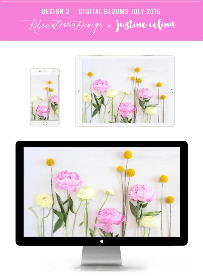 Digital Blooms Desktop Wallpaper 3 | July 2016 // JustineCelina.com x Rebecca Dawn Design