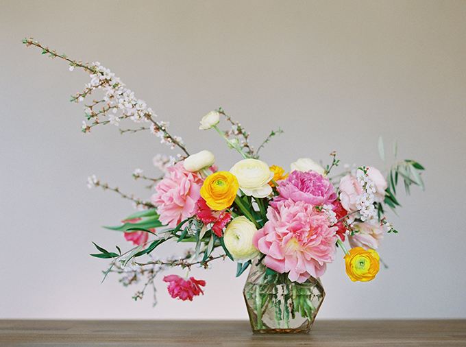 DIY | How to Make a Summer Flower Arrangement with Rebecca Dawn Design | Colourful Summer Arrangement with Peonies and Cherry Blossoms // JustineCelina.com