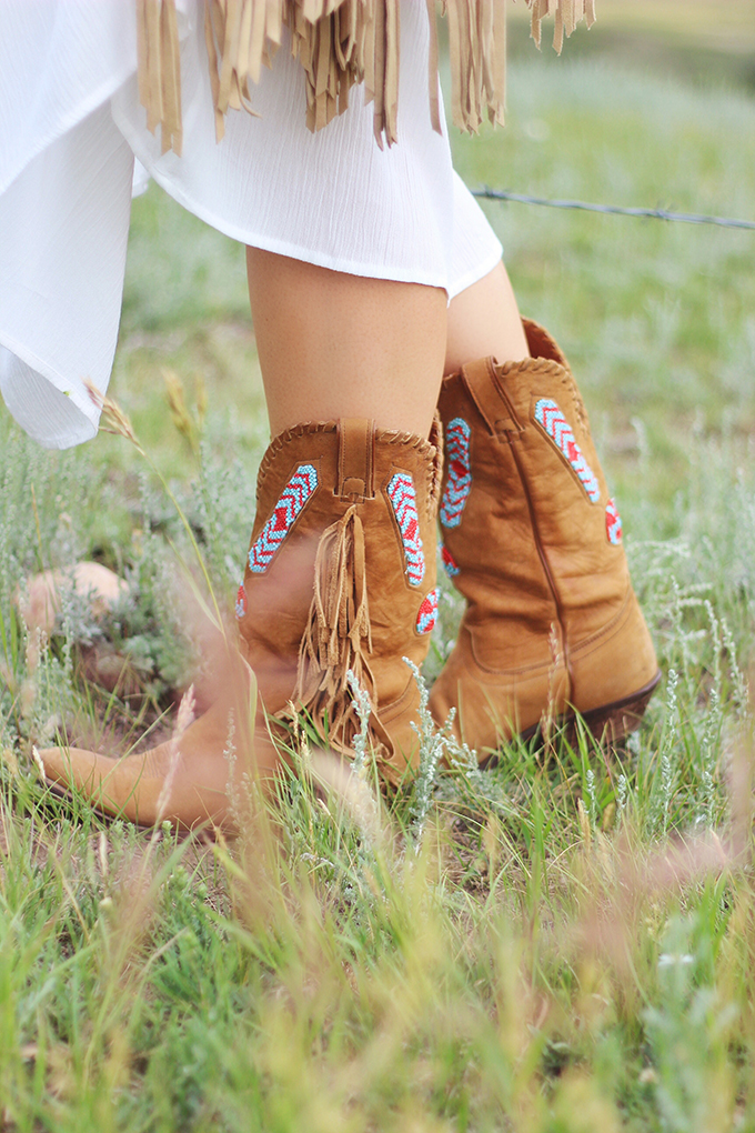 What to Wear to | The Calgary Stampede | Vintage Fringe Beaded Cowboy Boots // JustineCelina.com
