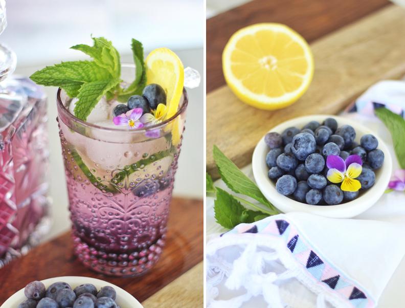 Blueberry Lemon and Cucumber Gin Mojitos // JustineCelina.com