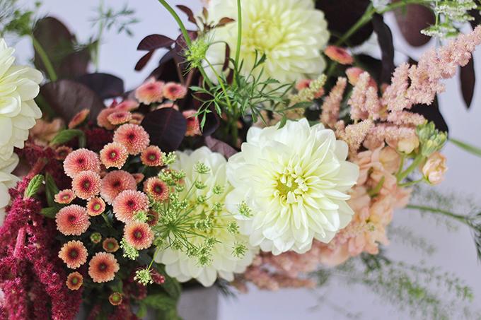 An Introduction to Autumn Flowers | Autumn Arrangement with Cream Dahlias // JustineCelina.com x Rebecca Dawn Design