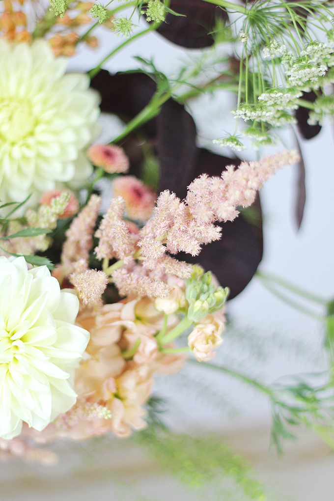 An Introduction to Autumn Flowers | Autumn Arrangement with Pink Astilbe // JustineCelina.com x Rebecca Dawn Design