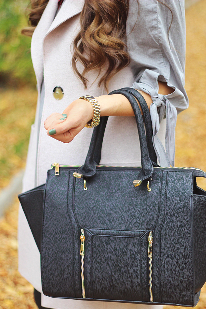 Pre Fall Transitional Style | Lulus Wing Woman Black Bag // JustineCelina.com