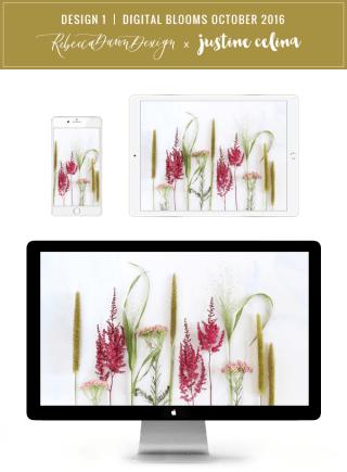Digital Blooms Desktop Wallpaper 1   October 2016 // JustineCelina.com x Rebecca Dawn Design