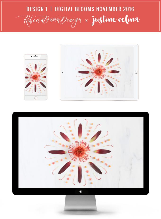 DIGITAL BLOOMS OCTOBER 2016 | FREE TECH WALLPAPERS | Design 1 // JustineCelina.com