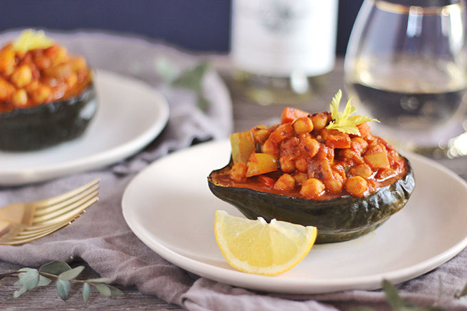 Curried Winter Vegetables with Roasted Acorn Squash // JustineCelina.com